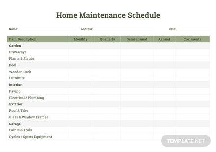 Home Maintenance Schedule Template