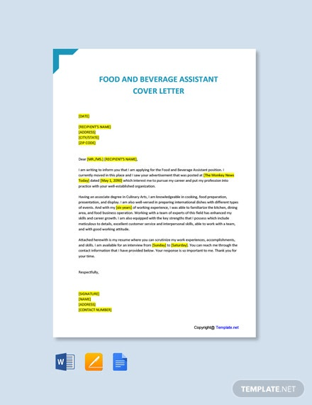 Free Food And Beverage Assistant Cover Letter Template