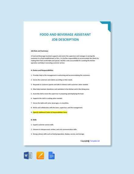 Free Food And Beverage Assistant Job Description Template