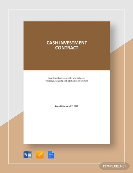 Cash Investment Contract Template