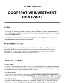 Cooperative Investment Contract Template