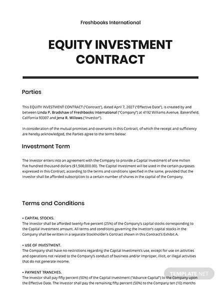 Equity Investment Contract Template