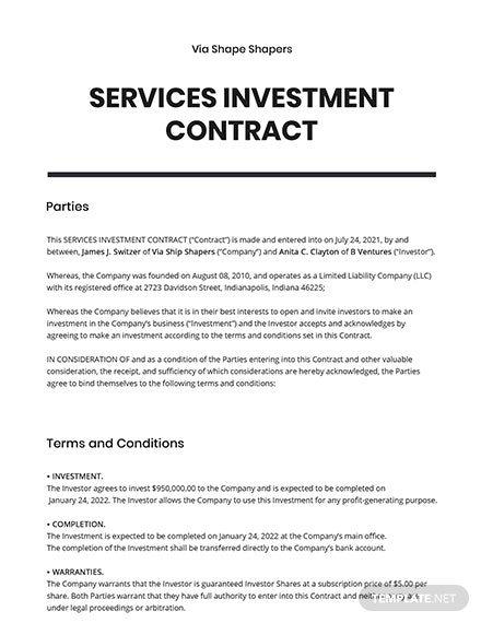 Services Investment contract Template