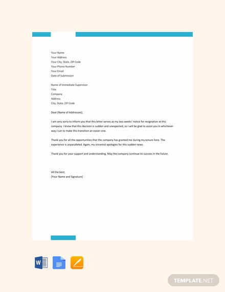 free two weeks notice resignation letter template 440x570 1