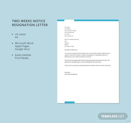 Free two weeks notice resignation letter template in microsoft word free two weeks notice resignation letter template spiritdancerdesigns Choice Image