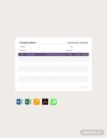 Free Maintenance Schedule Template