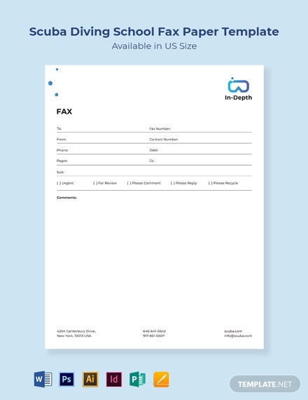 Scuba Diving School Fax Paper