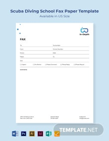 Scuba Diving School Fax Paper Template