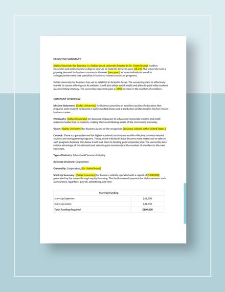 University Marketing Plan Download