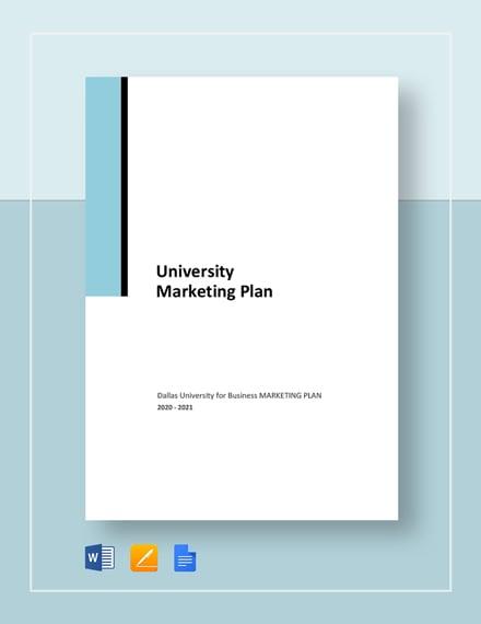 University Marketing Plan Template