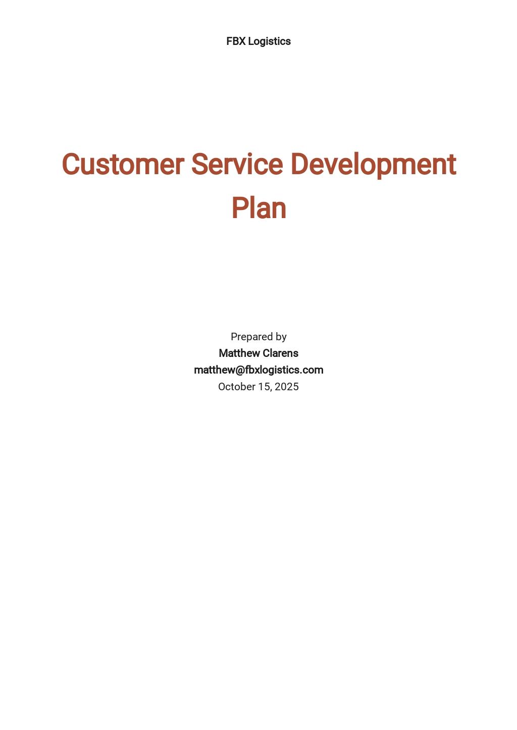 Customer Service Development Plan Template