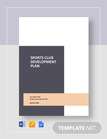 Sports Club Business Developement Plan Template