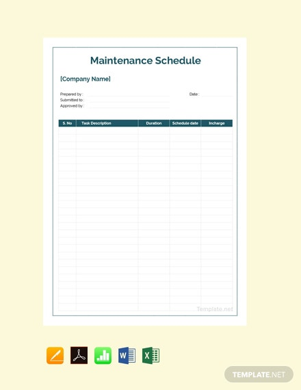 Free Sample Maintenance Schedule Template