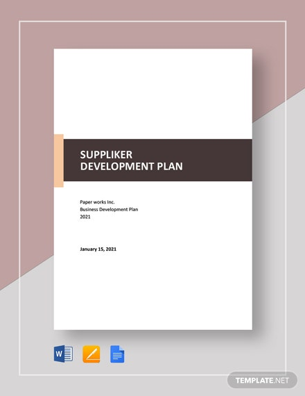 Supplier Development Plan Template
