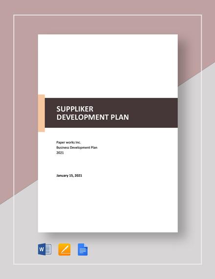 Supplier Development Plan Template