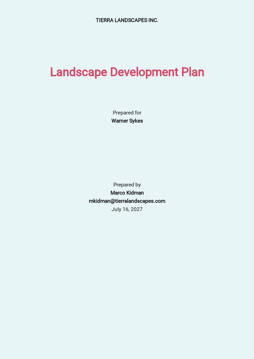 Gardening/Landscape Development Plan Template