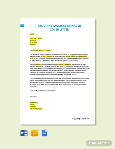 Free Assistant Facilities Manager Cover Letter Template