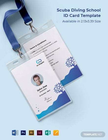 Scuba Diving School ID Card Template