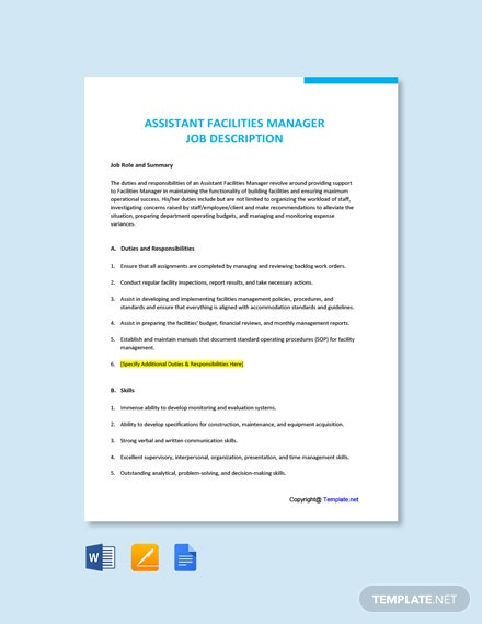 Free Assistant Facilities Manager Job Description Template