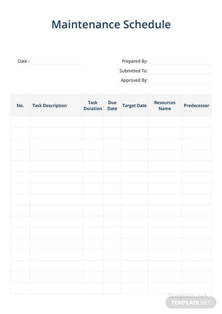 Simple Maintenance Schedule Template: Download 128+ Schedules in ...