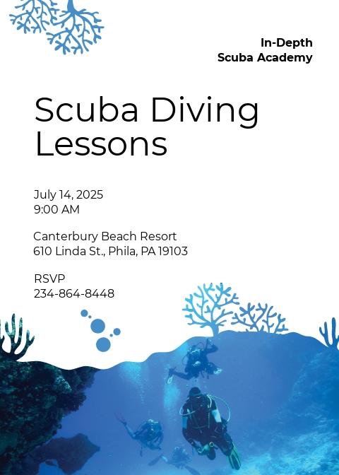 Scuba Diving School Invitation Template