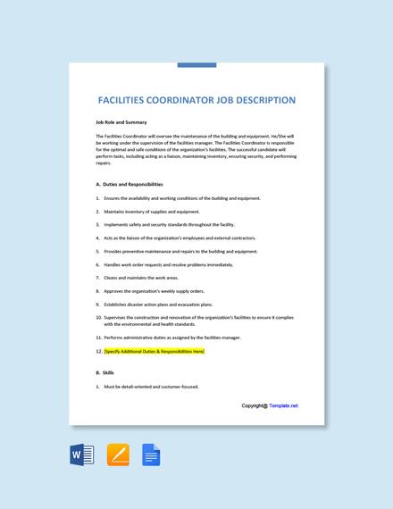 Free Facilities Coordinator Job Description Template