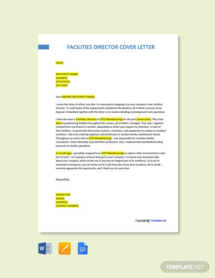 Free Facilities Director Cover Letter Template