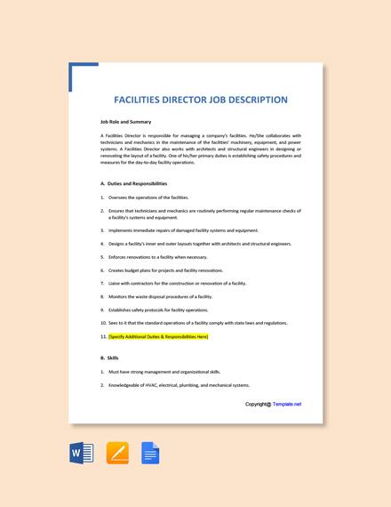 Free Facilities Director Job Description Template