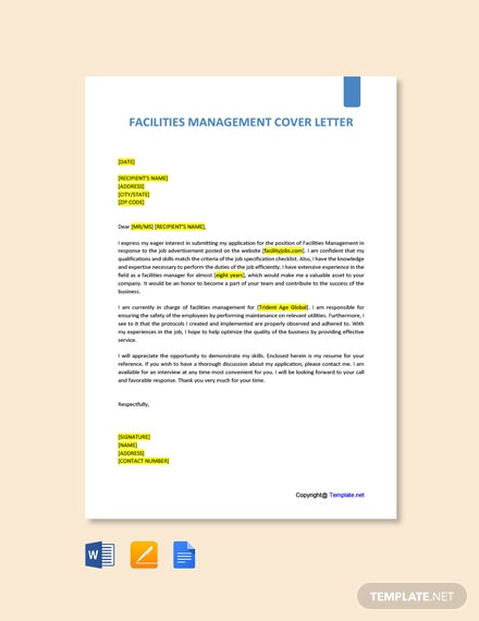 Free Facilities Management Cover Letter Template