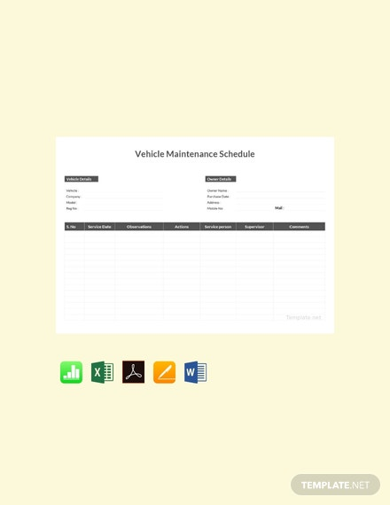 Free Vehicle Maintenance Schedule Template