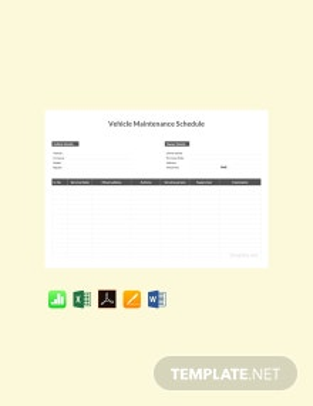 Free Vehicle Maintenance Schedule Template