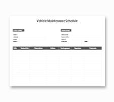 Vehicle Maintenance Schedule Template