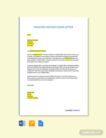 Free Facilities Officer Cover Letter Template