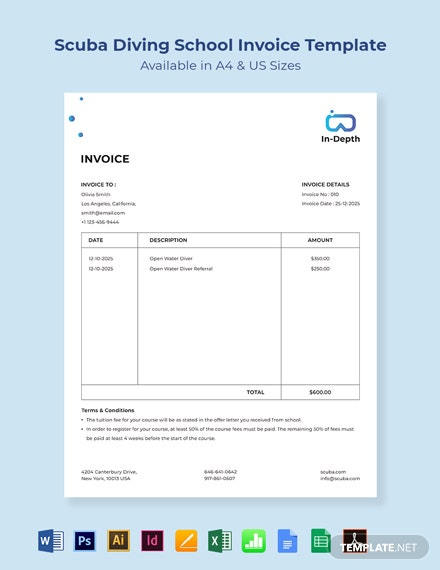 Scuba Diving School Invoice Template