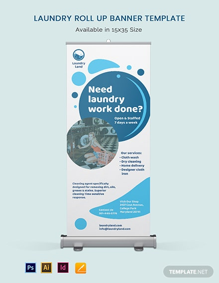 Laundry Roll Up Banner Template