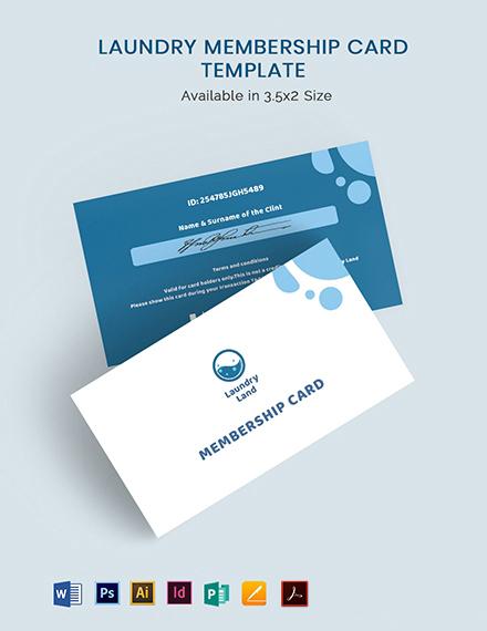 Laundry Membership Card Template