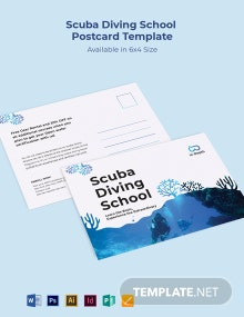 Scuba Diving School Postcard Template
