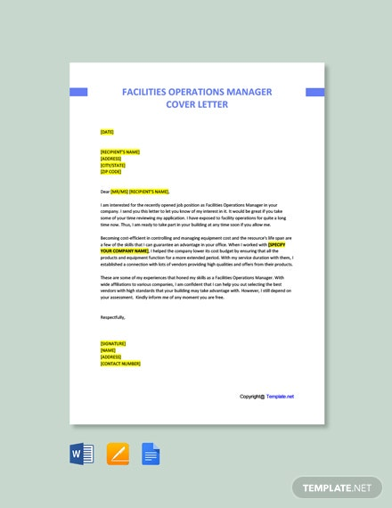 Free Facilities Operations Manager Cover Letter Template
