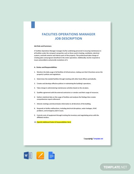 Free Facilities Operations Manager Job Description Template