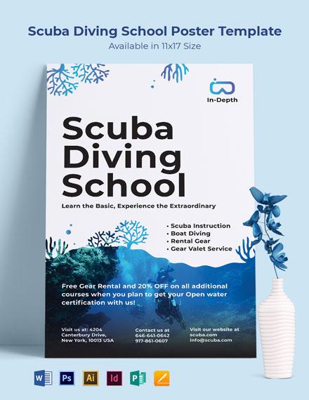 Scuba Diving School Poster Template