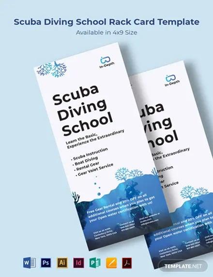 Scuba Diving School Rack Card Template