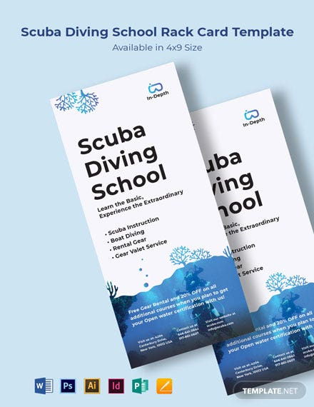 Scuba Diving School Rack Card Template