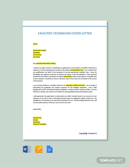 Free Facilities Technician Cover Letter Template