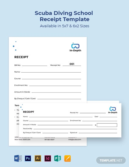 Scuba Diving School Receipt Template