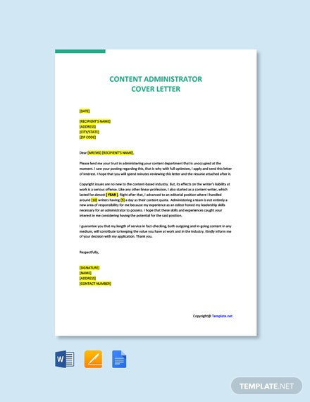 Free Content Administrator Cover Letter Template