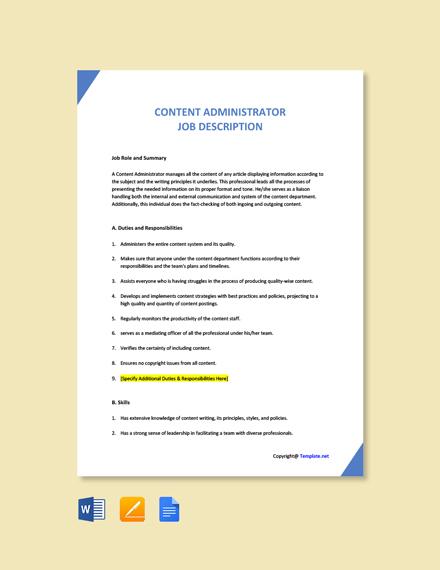 Free Content Administrator Job Ad/Description Template