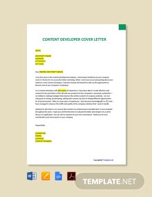 Free Content Developer Cover Letter Template