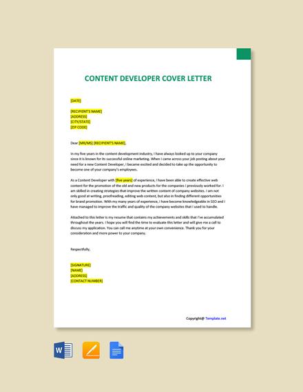 Free Content Developer Cover Letter Template