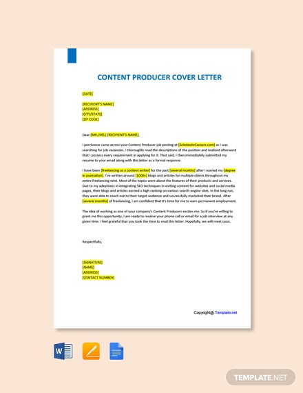 Free Content Producer Cover Letter Template