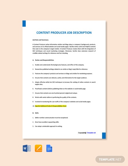 Free Content Producer Job Ad/Description Template